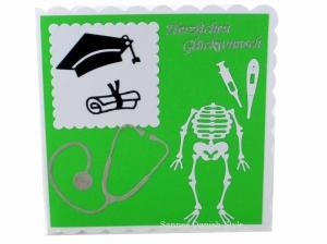 Für Ärzte, schöne Grußkarte, Geburtstagskarte, Diplom, Mikroskop, Skelett, ca. 15 x 15 cm - Handarbeit kaufen