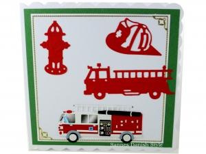 Grußkarte Feuerwehrmann, Geburtstagskarte, Feuerwehrwache, Feuerwehrauto, ca. 15 x 15 cm - Handarbeit kaufen