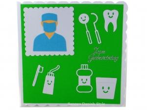 Glückwunschkarte, Geburtstagskarte für Zahnärzte, mit Zahnbürste, Zahncreme, Zahn, die Karte ist ca. 15 x 15 cm - Handarbeit kaufen