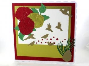 RESERVIERT Weihnachtskarte mit Vögel und Blumen, die Karte ist ca. 15 x 15 cm