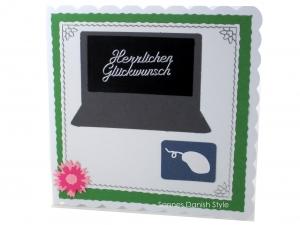 Grußkarte für viele Anlässe, mit Computer, Maus, Geburtstagskarte,  Blume, ca. 15 x 15 cm
