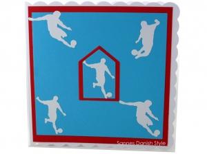 Grußkarte, Glückwunschkarte Fußball Sport mit Fußballer, Ball, Rot, Weiß und Blau, ca. 15 x 15 cm - Handarbeit kaufen