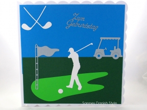 Geburtstagskarte für Golfer, Golfspieler und Zuschauer, Golfschläger, Spieler und Golfwagen, Grußkarte, die Karte ist ca. 15 x 15 cm