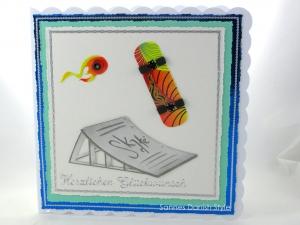 Skaterkarte mit Skateboard und Rampe, Grußkarte, Glückwunschkarte, Schicke Geburtstagskarte , ca. 15 x 15 cm