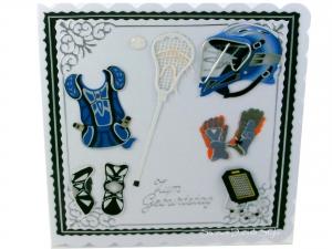Lacrosse Grußkarte, Lacrosse Ausrüstung, Helm, Schutzhandschuhe, Glückwunschkarte, Schicke Geburtstagskarte , ca. 15 x 15 cm - Handarbeit kaufen