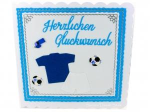 Herzlichen Glückwunschkarte Fußball, Karte mit Fußballkleider, Bälle, ca. 15 x 15 cm - Handarbeit kaufen