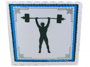 Geburtstagskarte Gewichtheben, Gewichtheber, Glückwunschkarte, Grußkarte, Blau, Weiß und Grau, ca. 15 x 15 cm - Handarbeit kaufen