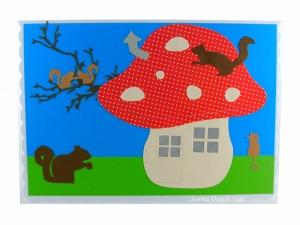 XL Grußkarte,  Haus wie ein Pilz, Katze und Eichhörnchen, Fantasie, Häuchen, DIN A5 Format - Handarbeit kaufen