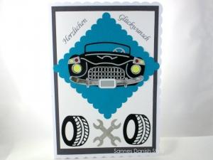 XL altes Auto Grußkarte, Grußkarte mit Auto, Reifen und Werkzeug, Große Geburtstagskarte in ca. DIN A5 Format