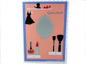Shoppingkarte, XL Grußkarte, Kosmetik, Kleid, Hut, Schuhe, Lippenstift, Nagellack, sehr schön als Gutschein, DIN A5 Format - Handarbeit kaufen