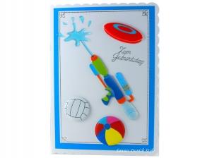 XL Geburtstagskarte Badespaß, Wasserpistole, Bälle, für Schwimmbad, Badeparks, die Karte ist ca. DIN A5 Format - Handarbeit kaufen