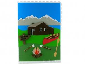 Grußkarte, XL Karte, Berge, Blockhütte, Kanu, Feuerstelle, die Karte ist ca. DIN A5 Format - Handarbeit kaufen