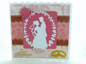 Schöne Hochzeitskarte romantisch mit Brautpaar, Ringe und Blumen, ca 15 x 15 cm