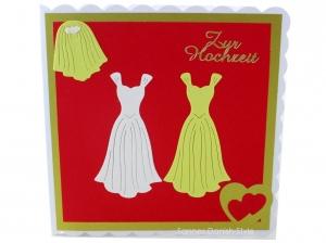 Schöne Hochzeitskarte für zwei Frauen, Kleider und Herzen, die Karte ist ca. 15 x 15 cm - Handarbeit kaufen