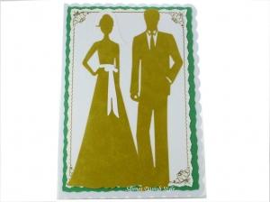 XL Grußkarte Goldener Hochzeit, Herzen, Blume, Hochzeitspaar, 50. Jahrestag, die Karte ist ca. DIN A5 Format - Handarbeit kaufen