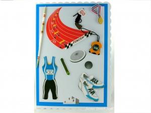 XL Geburtstagskarte für Leichtathletik, Speerwurf, Diskuswurf, Kugelstoßen, Grußkarte, die Karte ist ca. DIN A5 Format