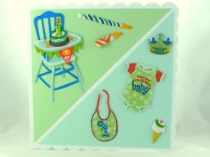 Baby, Geburtstagskarte, 1. Geburtstag, mit Strampler, Hochstuhl, kleine Torte mit eine Kerze, die Karte ist ca. 15 x 15 cm