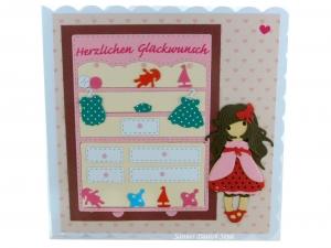 Geburtstagskarte für Mädchen, Grußkarte mit Kinderzimmer, Spielzeug und Mädchen, die Karte ist ca. 15 x 15 cm - Handarbeit kaufen