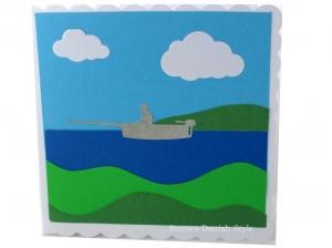 Geburtstagskarte Angler, Ruhestandskarte, Boat, See, in der Natur, die Karte ist  ca. 15 x 15 cm - Handarbeit kaufen
