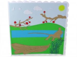 Glückwunschkarte, Geburtstagskarte für Angler, Ruhestandskarte, Boat, See, in der Natur, die Karte ist  ca. 15 x 15 cm - Handarbeit kaufen