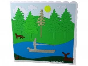 Schöne Geburtstagskarte Angler, Ruhestandskarte, Boat, See, Reh, Fuchs, in der Natur, die Karte ist  ca. 15 x 15 cm - Handarbeit kaufen