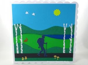 Geburtstagskarte, Grußkarte Wandertag, Wandere, Bäume, See, Sonne, Pilze und grüne Wiesen, die Karte ist  ca. 15 x 15 cm