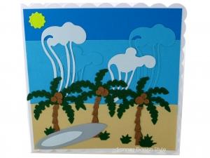 Schöne Geburtstagskarte, Grußkarte für Surfer, Wellen, Palmen, Strand und Meer, die Karte ist ca. 15 x 15 cm - Handarbeit kaufen