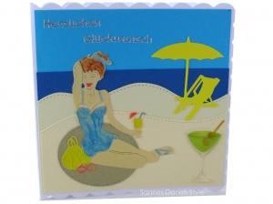 Geburtstagskarte Urlaub mit Frau, Strand, Meer und Cocktail, ca. 15 x 15 cm - Handarbeit kaufen
