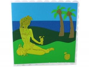 Schöne Geburtstagskarte Urlaub mit Frau auf der Wiese,  Meer im Hintergrund und Palmen, ca. 15 x 15 cm - Handarbeit kaufen