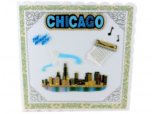 Glückwunschkarte, Geburtstagskarte, Grußkarte, Chicago Skyline, für die Reisetasche, die Karte ist ca. 15 x 15 cm  - Handarbeit kaufen
