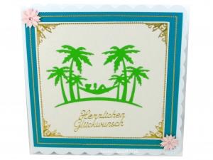 Grußkarte Hängematte, Frau und Palmen, selbstgemachte Karte mit Stanzmotive, die Karte ist ca. 15 x 15 cm - Handarbeit kaufen