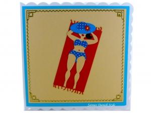 Geburtstagskarte, Grußkarte Urlaub mit Frau, Handtuch, Strand, die Karte ist ca. 15 x 15 cm - Handarbeit kaufen
