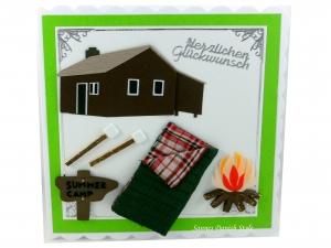 Grußkarte, Blockhütte, Schlafsack, Feuerstelle, die Karte ist ca. 15 x 15 cm - Handarbeit kaufen