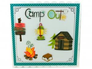 Camp Out Grußkarte, Lampe, Feuerstelle, kleine Hütte, die Karte ist ca. 15 x 15 cm - Handarbeit kaufen