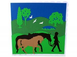 Pferdekarte, Mädchen mit Pferde, schöne Geburtstagskarte, Grußkarte, Glückwunschkarte, die Karte ist ca. 15 x 15 cm