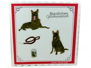Geburtstagskarte, Grußkarte für Deutsche Schäferhunde Besitzer, Hundetrainer, die Karte ist ca. 15 x 15 cm - Handarbeit kaufen