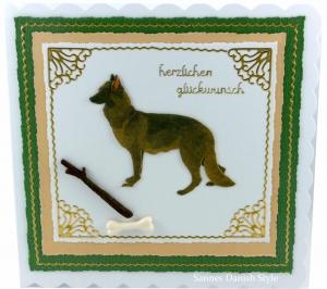 Glückwunschkarte, Geburtstagskarte, Grußkarte für Deutsche Schäferhunde Besitzer, Hundetrainer, die Karte ist ca. 15 x 15 cm - Handarbeit kaufen