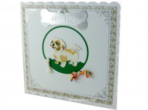 Karte, Geburtstagskarte, Grußkarte für Shih Tzu Besitzer, Züchter, die Karte ist ca. 15 x 15 cm - Handarbeit kaufen