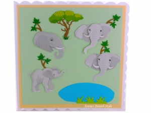 Elefanten Grußkarte, Geburtstagskarte mit schöne Elefanten drauf, Babyelefanten, die Karte ist ca. 15 x 15 cm