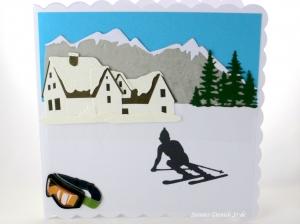 Grußkarte, Geburtstagskarte, Glückwunschkarte für Skiurlauber, mit Hotel, Skibrille und Skiläufer, die Karte ist ca. 15 x 15 cm - Handarbeit kaufen