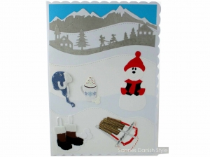 Schöne Winterkarte, Grußkarte, Geburtstagskarte, Schneemann, Schlitten, Mütze, Winterstiefel, Kakao, die Karte ist ca. DIN A5 Format - Handarbeit kaufen