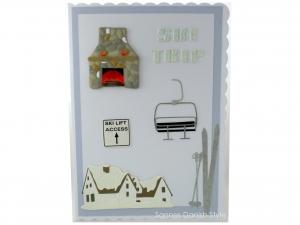 XL Grußkarte, Geburtstagskarte, Glückwunschkarte für Skiurlauber, mit Hotel, Ski, Skilift und Kamin, die Karte ist ca. DIN A5 Format. - Handarbeit kaufen