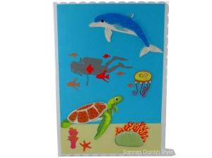 XL Taucherkarte, Geburtstagskarte, Grußkarte, Tauchurlaub, Faltkarte, Meer und Pflanzen, die Karte ist ca. DIN A5 Format - Handarbeit kaufen