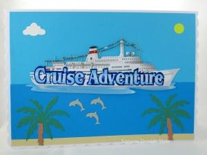 XL Geburtstagskarte Urlaub mit Kreuzfahrtschiff, Palmen und Strand, die Karte ist ca. DIN A5 Format