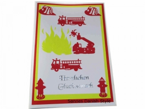 XXL Grußkarte Feuerwehrmann, Geburtstagskarte, Feuerwehrwache, Feuerwehrauto, DIN A4 Format - Handarbeit kaufen