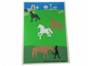XXL Pferdekarte, Mädchen mit Pferde, schöne Geburtstagskarte, Grußkarte, Glückwunschkarte, DIN A4 Grußkarte