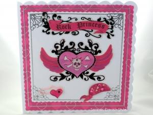Tolle Geburtstagskarte für Mädchen mit Feuer und Energie, Pink und Schwarz gehalten, die Karte ist ca. 15 x 15 cm - Handarbeit kaufen