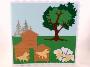 Karte, Geburtstagskarte, Grußkarte, Imker, Bienenzüchter, für Imker mit Bienen, Bienenstock, Bäume und Blumen, ca. 15 x 15 cm - Handarbeit kaufen