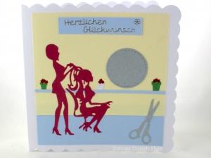 Geburtstagskarte für Friseurbesuch, gebastelt, Grußkarte Geldgeschenk, bestellen, die Karte ist ca. 15 x 15 cm