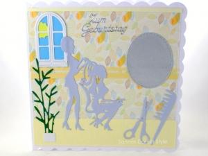 Friseurkarte, Grußkarte für Friseurbesuch, gebastelt, Grußkarte Geldgeschenk, schnell bestellen, die Karte ist ca. 15 x 15 cm